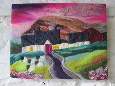 textile art sheep picture felt painting pink by SueForeyfibreart