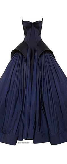 Zac Posen Royal Blue Tafetta Gown Resort 2015