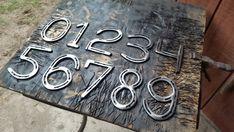 Horseshoe Numbers, House Numbers, Stall Numbers, set of or 6 Metal Welding, Shielded Metal Arc Welding, Diy Welding, Welding Tools, Welding Ideas, Diy Tools, Woodworking Projects, Welding Cart, Horseshoe Projects