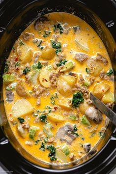 Pumpkin Recipes, Fall Recipes, Dinner Recipes, Summer Soup Recipes, Slow Cooker Recipes, Cooking Recipes, Crock Pot Soup Recipes, Sausage Crockpot Recipes, Crock Pot Stew