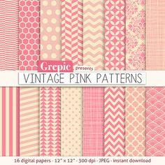 "Pink digital paper: ""VINTAGE PINK PATTERNS"" pink backgrounds w/ chevron, polkadots, honeycomb, stripes, geometric, quatrefoil, cross hatch..   par workyourart"