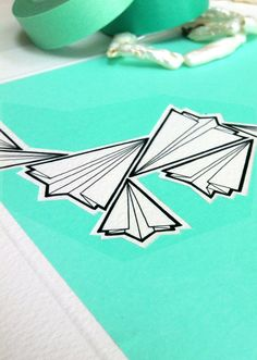 paper airplane illustration  'jaded'  green paper by lightboxing, £12.00