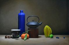 "Still Life with Starfruit, Blue Vase, and Teapot   30"" x 40"", Trish Coonrod"