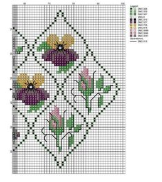 Pansy and rose bud chart Cross Stitch Rose, Cross Stitch Charts, Cross Stitch Patterns, Victorian Cross Stitch, Bargello, Rose Buds, Pansies, Cross Stitching, Needlepoint