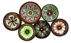 Metal Wall Decor With Six Round Shaped Plates by Benzara - Wall Sculptures