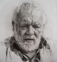 Colin Davidson - Michael Longley..........Study of Michael Longley  2011 crayon on paper 62 x 57 cm