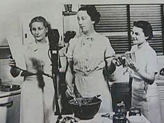 """Betty Crocker: """"Her name was invented in 1921 by combining the warm and friendly sounding """"Betty"""" with the surname of retired Washburn Crosby Co. (now General Mills) executive William Crocker.  Her trademark signature came from a contest won by a company secretary..... The Betty Crocker School of Air, hit the airwaves in 1924."""""""