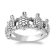 .925 Sterling Silver Lucky Fashion Turtle Ring Size 5 6 7 8 9 10 11 12 NEW