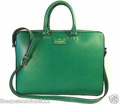 Kate Spade Tanner Wellesley Computer Bag in Green Leather