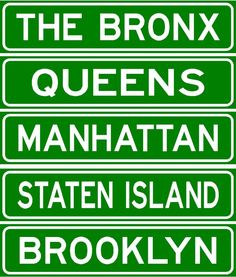 5 New York Burough signs,Brooklyn, Bronx, Queens.