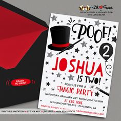 Magic Party Invitations - Magician Birthday Party Printable Invitation - Magic Show Birthday Party
