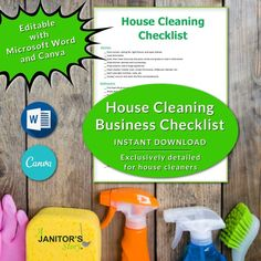 This is an easy to edit professional house cleaning checklist printable. Use MS Word or Canva to customize with your logo, brand colors and more. This housecleaning business checklist is exclusively designed for house cleaning business owners Building Cleaning Services, Professional Cleaning Services, House Cleaning Checklist, Cleaning Contracts, Maid Cleaning Service, Cleaning Business, Office Cleaning, Cleaning Hacks, Business Signs