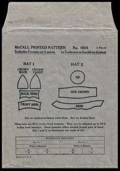 20s-Millinery-McCall-1604-FLAPPER-ART-DECO-ERA-HATS-Fabric-Material-Sew-Pattern