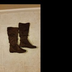 Brown suede boots Brown suede boots. Super comfy and cute!! Have only been worn once around the house. Love them...but have so many!   NO TRADES NO PETS NON SMOKING HOME Shoes