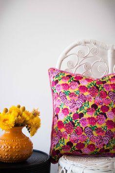 DAZZLING DAHLIA Dahlia, Color Splash, Vibrant, Cushions, Colours, Throw Pillows, Handmade, House, Design