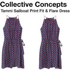 Tammi Sailboat Print Fit & Flare Dress