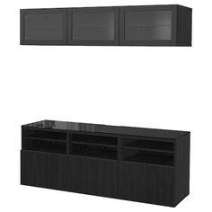 """View our BESTÅ TV storage combination/glass doors, Lappviken, Sindvik black-brown clear glass, 70 """". All you need to keep the area around the TV organized. You get lots of storage space and relief from unruly cords. Ikea Tv, Besta Tv Bank, Ikea Canada, Tv Wand, Tv Bench, Tv Storage, Extra Storage, Record Storage, Frame Shelf"""