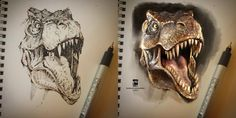 T-Rex sketch on paper + PS colors by psdeluxe on DeviantArt