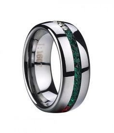 This trendy 3 colors tungsten ring features white, red  crystal stones inlaid in the center. It's certain to turn heads. A legend!