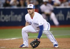 Josh Donaldson #20 of the Toronto Blue Jays gets ready to field his position at third base during MLB game action against the Tampa Bay Rays at Rogers Centre on June 14, 2017 in Toronto, Canada.