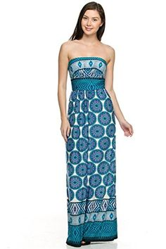 2LUV Women's Strapless Multicolored Mix Print Maxi Dress Blue & Turquoise S  (22C-VL1231