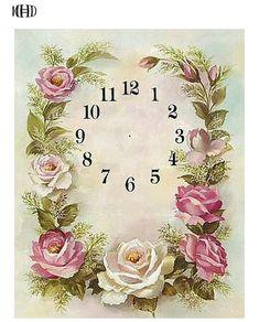 Decoupage Vintage, Decoupage Paper, Clock Craft, Diy Clock, Wall Patterns, Flower Patterns, Clock Face Printable, Cottage Shabby Chic, Clock Flower