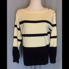 NWT Ralph Lauren Boatneck Sweater New with tags, does have a small slub or pull in the back, see last picture. So small not sure you can see it well. This is black stripes on cream. Four gold button on each shoulder. Cotton/Nylon blend so very light weight. Ribbed bottom and cuffs. Bust 20 inches flat. Length 24 inches. Ralph Lauren Sweaters