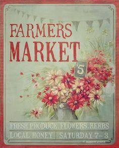 Farmers Market Flowers art print by MandyLynneImagerie Vintage Labels, Vintage Ephemera, Vintage Cards, Vintage Signs, Images Vintage, Vintage Pictures, Shabby, Vintage Prints, Vintage Posters