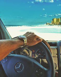 Nothing soothes the soul like a drive on the beach... F   R  D  #beach #driving #mercedes #sprinter #roadtrek #roadtrekliving #hymer #vanlife #beachlife #vanview #travel #nature #photooftheday #iphone #photo #daytonabeach #florida #solarvanlife #ocean #sand #rolex #submariner #wristporn #wristgame #driveonthebeach by matteflanli #rolex #submariner