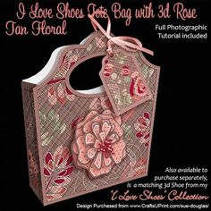 I Love Shoes Tote Bag Tan Floral on Craftsuprint designed by Sue Douglas - This quick and easy Tote Bag Gift Box Mini kit, is from my I Love Shoes Collection and is an original template that I have designed. Each mini kit contains 2 sheets and includes a pretty 3d Rose to add to the front of the bag. This Gift Box matches my I Love Shoes 3d Model Shoes design of the same name. The finished Gift Box is a good size that will easily hold a gift of a Full set of Beaded Jewellery or homemade ...
