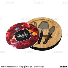Red abstract mosaic shiny glitter pattern Monogram Cheese Platter