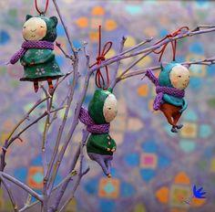Figurine Amigurumi Miniatures doll Cats Christmas decoration