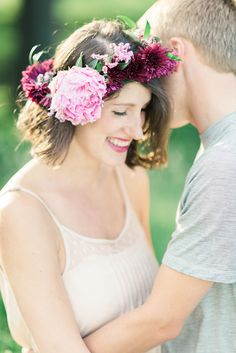 Not sure if you want to wear a flower crown at your wedding? Test drive it during your engagement photos!   Photograph by Elizabeth Fogarty Photography