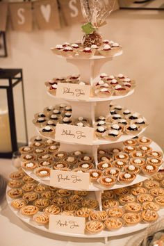 Wedding Food Cute for a party (would just have to learn to make mini pies haha!) - Get your ooohs and ahhhs ready, because this wedding from Wedding Reception Food, Wedding Catering, Our Wedding, Pie Bar Wedding, Wedding Menu, Cookie Table Wedding, Wedding Food Bars, Trendy Wedding, Rustic Wedding