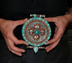 "Tibetan ""Gau"" Prayerbox: silver, turquoise and coral. Mid 20° century (DIV12)"