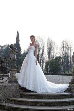 jillian 2016 bridal gowns strapless sweetheart neckline dropwaist a  line ball gown wedding dress chapel train style cindy