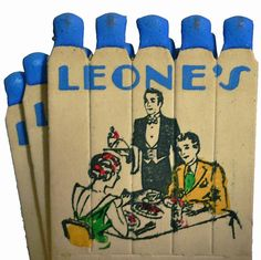 Leone's, c. 1940s #feature #matchstems To design & order your own logo'd #matches GoTo: www.GetMatches.com or Call 800.605.7331 Today!