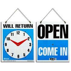 Bazic inch X 9 inch will Return Clock Sign w/ open sign on back, Case of 144 Instagram Wedding Sign, Wet Floor Signs, No Soliciting Signs, Open Signs, Plastic Signs, Window Signs, Address Plaque, Vinyl Banners, Dog Signs