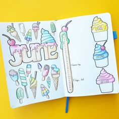 Ahhh... such a beautiful June welcome page by @sj_bujo She coloured it in and it looks so yummy Loving the summer vibe ☉