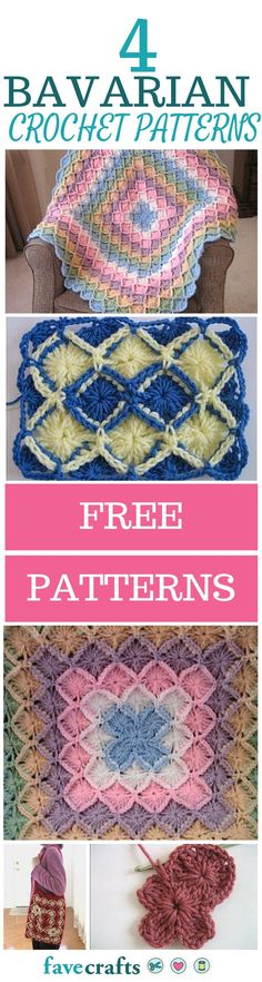 Learn how to crochet Bavarian Afghan patterns, Bavarian crochet squares, and more with this mini collection of free crochet patterns. Baby Afghan Crochet, Crochet Quilt, Crochet Bebe, Free Crochet, Crochet Blankets, Learn Crochet, Granny Square Crochet Pattern, Crochet Squares, Afghan Crochet Patterns