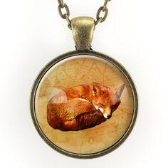 Sleeping Fox Necklace, Woodland Forest Jewelry