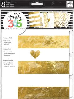 Gold Foil Dividers - Add some glam to your Happy Planner™ by adding these specialty dividers.   Each package includes 8 pre-punched, designer dividers treated with GOLD FOIL!