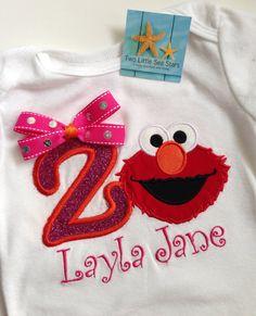 Elmo Inspired Sparkle/Glitter Birthday Shirt by twolittleseastars