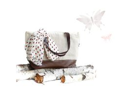 Cotton linen leather large diaper bag - eco friendly linen tote bag - chestnut brown leather - weekender women  market bag - waterproof tote on Etsy, $78.15
