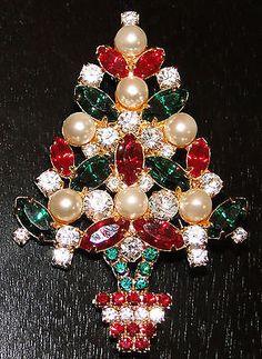 Vintage Beautiful Eisenberg Ice Christmas Tree Brooch Pin Retired   eBay
