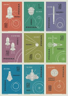 spacewatching:  Polish space stamps showing different launched vehicles and their orbits from the 1960's. Excellent typography, line work and color.