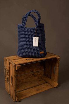 Borsa a mano corda tote bag borsa blu marino maglia borsa