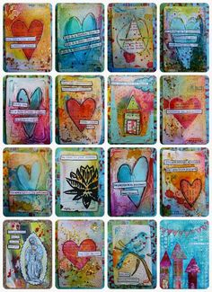 Made by Nicole: Recycled Playing Cards – Mixed Media – Altered Books and Journals – playhome Art Journal Inspiration, Mail Art, Journal Cards, Heart Collage, Art, Card Art, Art Trading Cards, Altered Art, Mixed Media Art Journaling