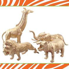 Safari Party Ideas | Jungle Animals DIY love the idea of spray painting figurines!!