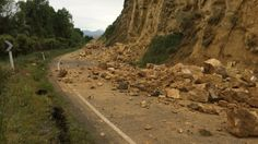 Debris from a cliff face lie on a road near Rotherham in Canterbury after the quake.